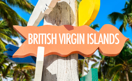 British Virgin Islands welcome sign with palm trees