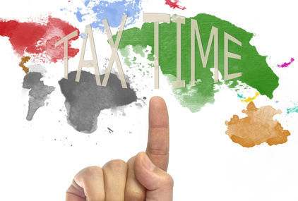 tax time written World map in picture paints multicolor style on white background