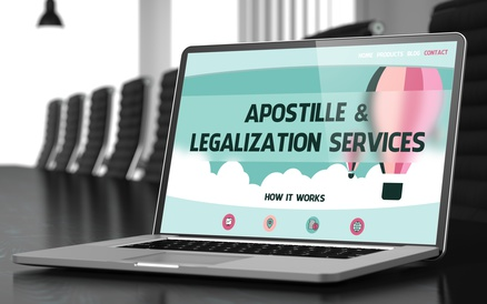 Closeup Apostille and Legalization Services Concept on Landing Page of Laptop Display in Modern Conference Room. Toned Image. Blurred Background. 3D Rendering.