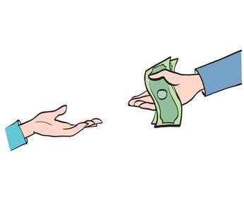 Hand transfers the money, partnership, cooperation calculation symbol icon vector